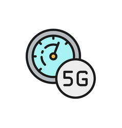 high speed 5g internet flat color line icon vector image