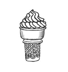 ice cream cone sketch hand drawn vector image