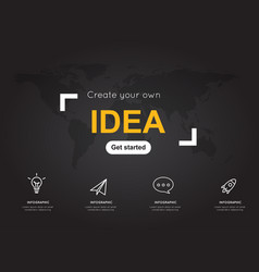 idea icons with world black map for business vector image