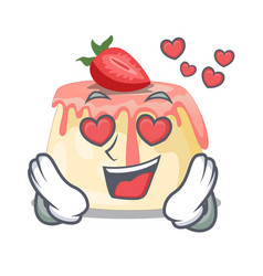 In love homemade strawberry pudding on character vector