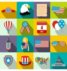 Independence day flat icons vector image