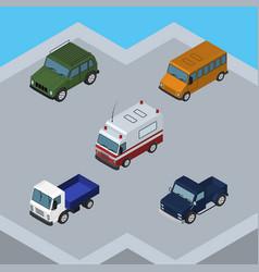 isometric transport set of suv autobus armored vector image