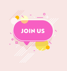 Join us banner with abstract pattern on pink vector