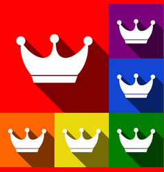 king crown sign set of icons with flat vector image