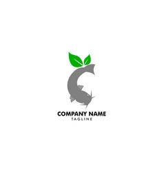 Leaf catfish logo template icon design vector