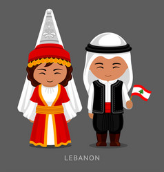 Lebanese in national dress with a flag vector