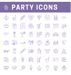 liner party icons vector image
