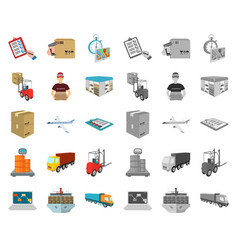 logistics and delivery cartoonmono icons in set vector image