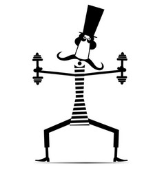 long mustache man does exercises with dumbbells vector image