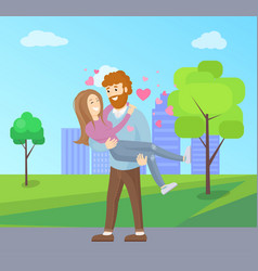 man with beard holding woman on hands vector image