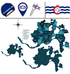 Map cincinnati oh with districts vector