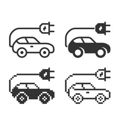 Monochromatic icon electric car in different vector