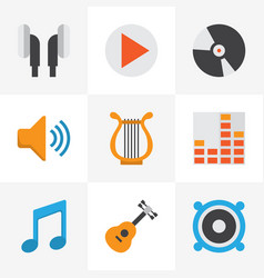 Multimedia flat icons set collection of audio vector
