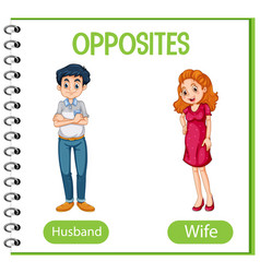 Opposite words with husband and wife vector
