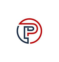 P letter circle line logo icon design vector