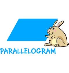 Parallelogram shape with cartoon bunny vector