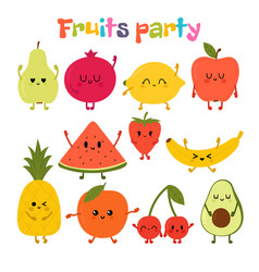 party with dancing fruits cute hand drawn kawaii vector image