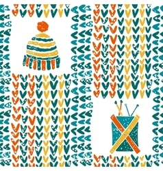 Pattern with knitting accessories and hat vector