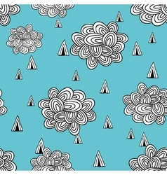 Rain clouds in the blue sky vector image
