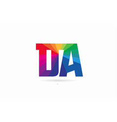 Rainbow colored alphabet combination letter da d vector
