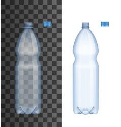 realistic plastic bottle with open cap vector image