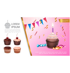 realistic sweet birthday concept vector image