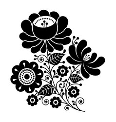 Russian design folk art black and white flowers vector