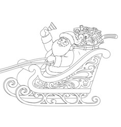 santa claus in a sleigh carrying gifts vector image