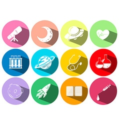 Science and technology symbols on buttons vector image