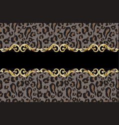 Seamless border with leopard skin vector