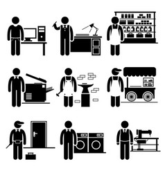 Self employed small business jobs occupations vector
