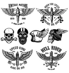 Set of biker emblems with winged spark plugs vector