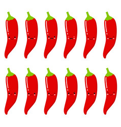 set of cute smiley red hot peppers set of emoji vector image