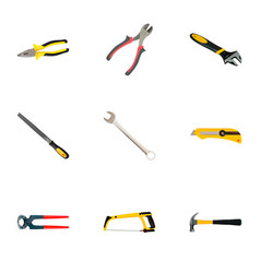 set of tools realistic symbols with hacksaw vector image
