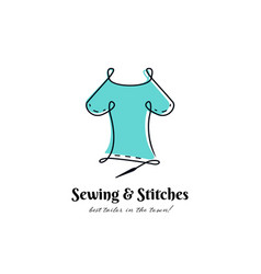 Sewing and stitches best tailor logo outline vector