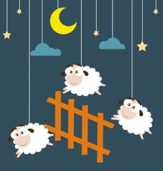 Sheep and Fence hanging on the ropes with night vector image