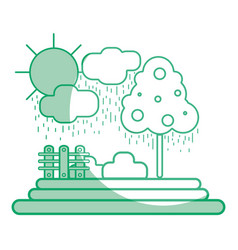 Silhouette counds raining with tree and grid wool vector