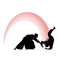 Silhouette of aikido masters leading the fight vector