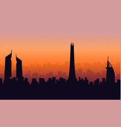 Silhouette of dubai city beauty building landscape vector