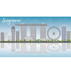 Singapore skyline with grey landmarks vector image