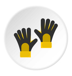 Soccer goalkeepers gloves icon circle vector