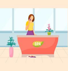 Spa consultation receptionist in salon vector