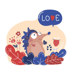 Spring hedgehog valentine cartoon animal set vector