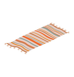Striped rug floor covering isolated carpet vector