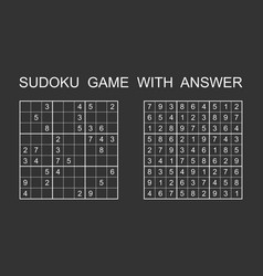 sudoku game with answer puzzle game with numbers vector image