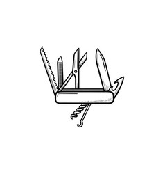 swiss folding knife hand drawn outline doodle icon vector image