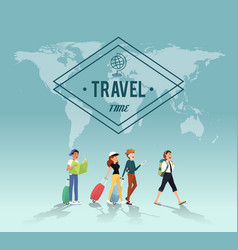 traveling around the word with friends design vector image