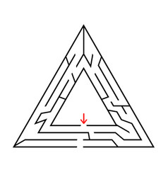 triangular labyrinth with an input and an exit vector image