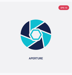 Two color aperture icon from electronic stuff vector