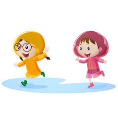 Two girls in raincoat running vector